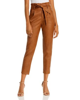 Faux Leather Paperbag Waist Pants   100% Exclusive by Lucy Paris