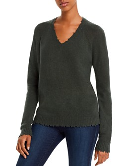 Minnie Rose - Distressed V-Neck Cashmere Sweater