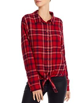 AQUA - Tie-Hem Plaid Shirt - 100% Exclusive