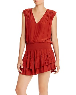 Ramy Brook - Bernice Smocked-Waist Mini Dress