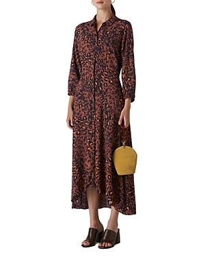 Whistles Amara Leopard-Print Midi Shirt Dress