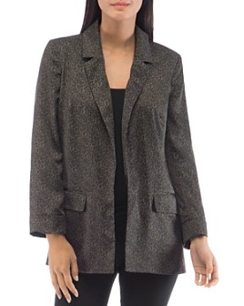 B Collection by Bobeau - Leopard-Print Relaxed Open Blazer