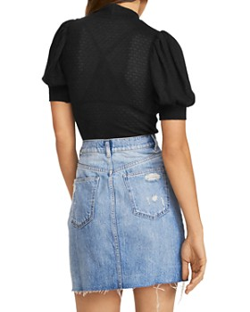 Free People - Good Luck Pointelle Puff-Sleeve Top