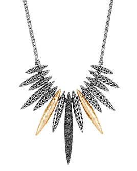 "JOHN HARDY - Classic Chain Spear Black Sapphire & Black Spinel Bib Necklace in Sterling Silver & 18K Yellow Gold, 18""- 100% Exclusive"