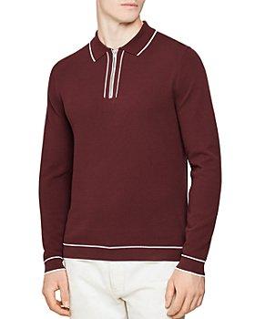 REISS - Lanark Piqué Tipped Quarter-Zip Sweater