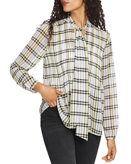 1.STATE - Plaid Tie-Neck Blouse
