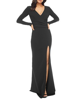 Dress the Population - Carmen Plunging Long-Sleeve Gown