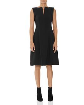 HALSTON - Split Wide Boatneck Dress