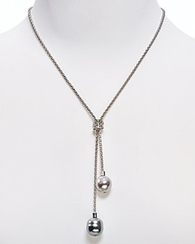 """Majorica - Love Knot Simulated Pearl Lariat Necklace, 16"""""""