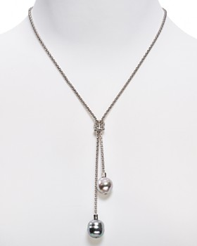 Majorica - Love Knot Simulated Pearl Lariat Necklace, 16""