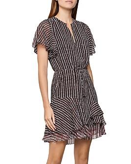 REISS - Anna Printed Tiered-Hem Mini Dress