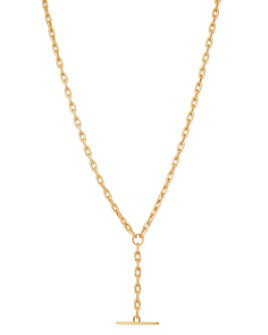"""Zoë Chicco - 14K Yellow Gold Faux Toggle Y Necklace, 16"""""""