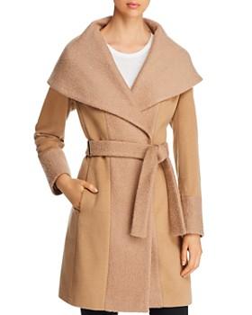 Calvin Klein - Color-Blocked Wool-Blend Wrap Coat