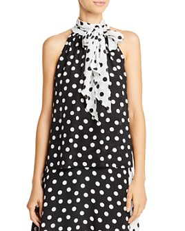 Alice and Olivia - Liana Tie-Neck Polka Dot Silk Top