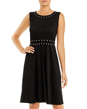 T Tahari - Stud-Trim Faux Suede Fit-and-Flare Dress