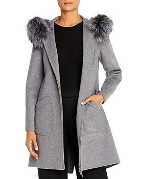 Maximilian Furs - Fox Fur-Trim Wool Coat