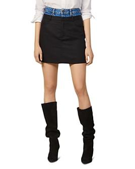 Sandro -  Capri Contrast-Waist Mini Skirt