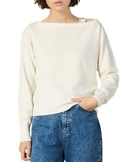 Sandro - Night Wool & Cashmere Boat Neck Sweater