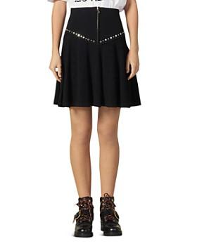 Sandro - Oria Pleated & Studded A-Line Skirt