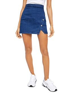 Free People - Notched Denim Mini Skirt