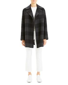 Theory - Wool Buffalo Plaid Open Coat