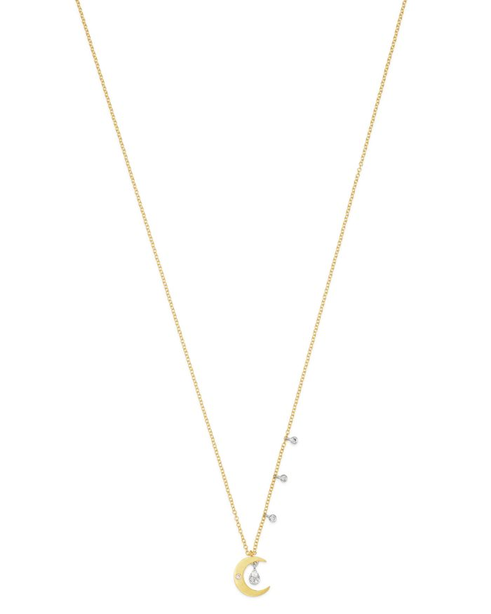 """Meira T 14K Yellow & White Gold Moon Pendant Necklace with Diamonds, 18""""    Bloomingdale's"""