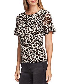 VINCE CAMUTO - Leopard Flutter-Sleeve Top