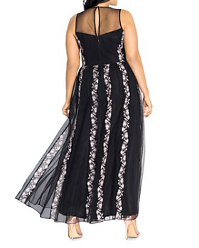 City Chic Plus - Climbing Vine Embroidered Tulle Dress