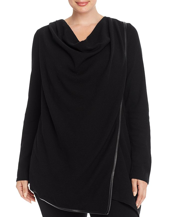Marc New York Plus - Draped Waffle Knit Thermal Top