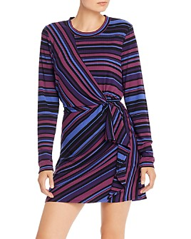 Parker - Kade Ribbed Faux-Wrap Striped Dress