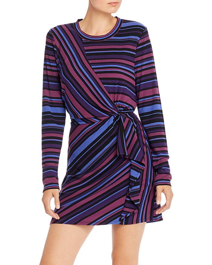 Parker - Kade Ribbed Faux-Wrap Striped Dress