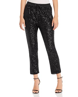 Parker - Conner Satin-Striped Cropped Sequin Pants