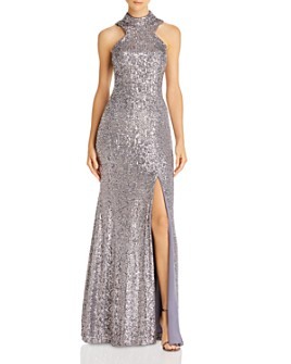 AQUA - High-Neck Sequin Open-Back Dress - 100% Exclusive