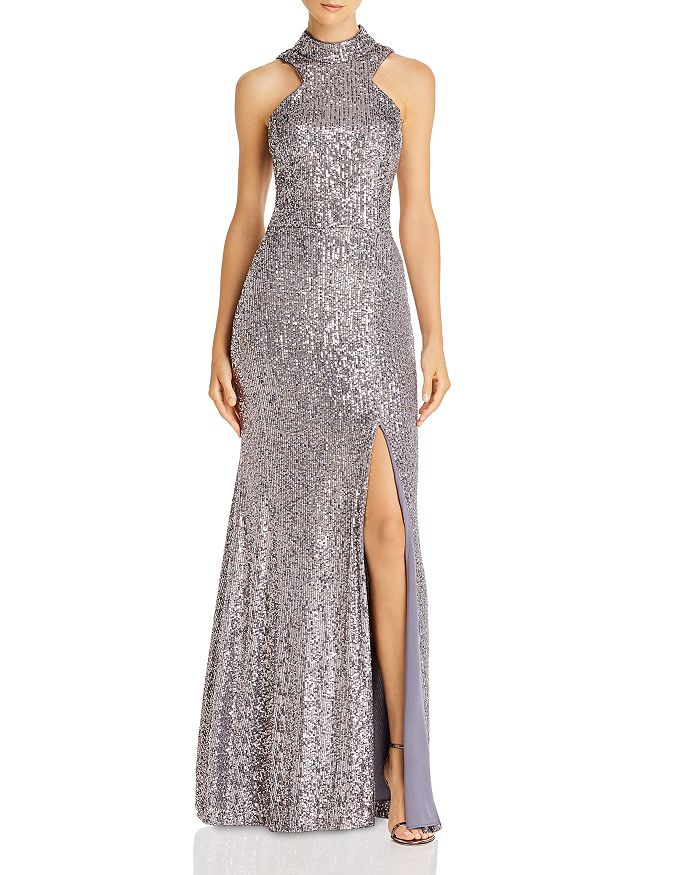 AQUA - High-Neck Sequin Open-Back Dress - 100% Exclusive