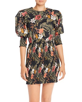 Rebecca Minkoff - Geneva Printed Smocked Cotton Mini Dress