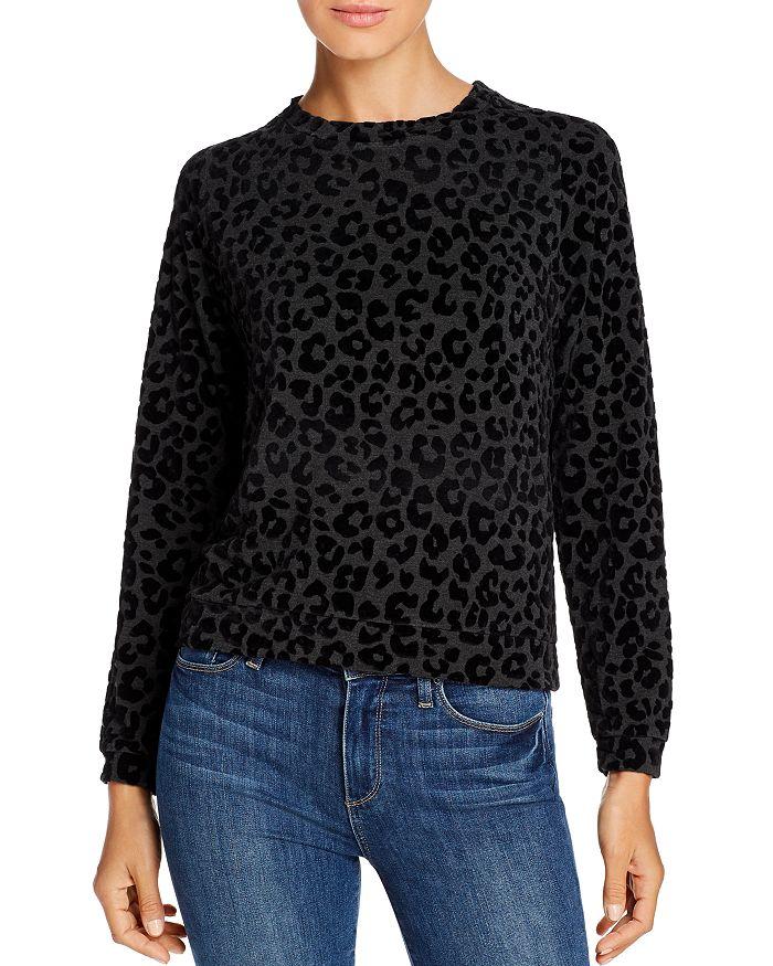 Majestic Filatures - Leopard-Print Flocked Velvet Sweatshirt