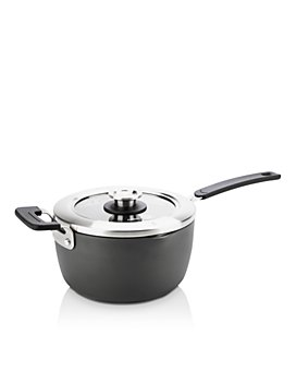 GreenPan - Levels 3 Qt. Hard Anodized Stackable Ceramic Nonstick Saucepan with Straining Lid