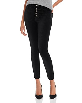 7 For All Mankind - High-Waisted Ankle Skinny Jeans in Black Velvet