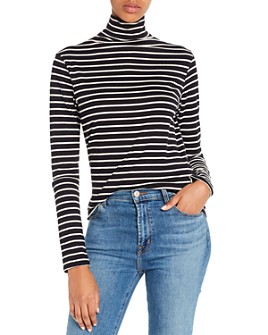 AG - Striped Jersey Knit Turtleneck
