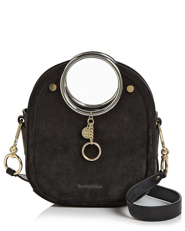 See By ChloÉ See By Chloe Mara Leather & Suede Shoulder Bag In Black/silver