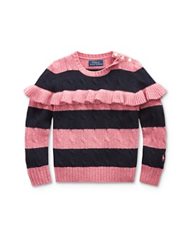 Ralph Lauren - Girls' Ruffled Cable-Knit Cashmere Sweater - Little Kid
