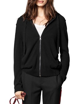 Zadig & Voltaire - Cassy Leather-Patch Cashmere Hoodie