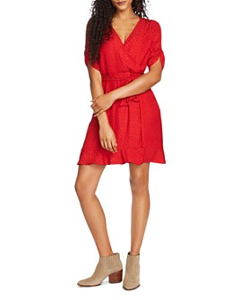 1.STATE - Tonal Leopard Print Faux-Wrap Dress