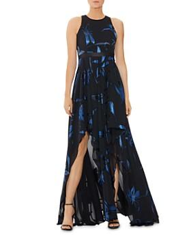 HALSTON - Blossom Burnout Handkerchief Gown
