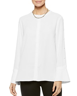 Misook - Crepe de Chine Button-Sleeve Blouse