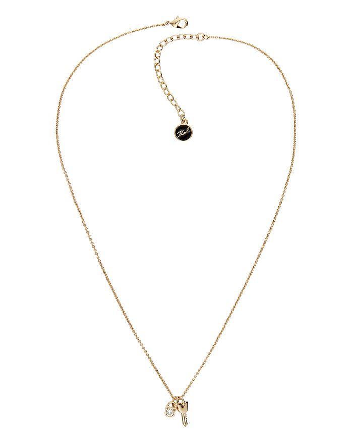"KARL LAGERFELD Paris - Mini Choupette Lock & Key Charm Necklace, 16""-18"""