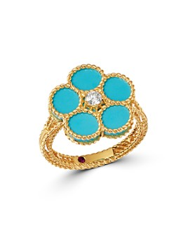 Roberto Coin - 18K Yellow Gold Daisy Diamond & Turquoise - 100% Exclusive