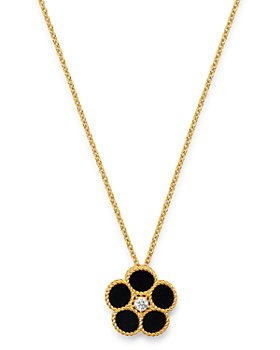 "Roberto Coin - 18K Yellow Gold Daisy Diamond & Black Onyx Pendant Necklace, 16"" - 100% Exclusive"