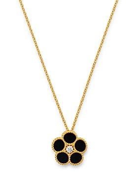 "Roberto Coin - 18K Yellow Gold Daisy Diamond & Black Onyx Pendant Necklace, 16"" - 100% Exclusive"