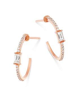 OWN YOUR STORY - 14K Rose Gold Diamond Hoop Earrings